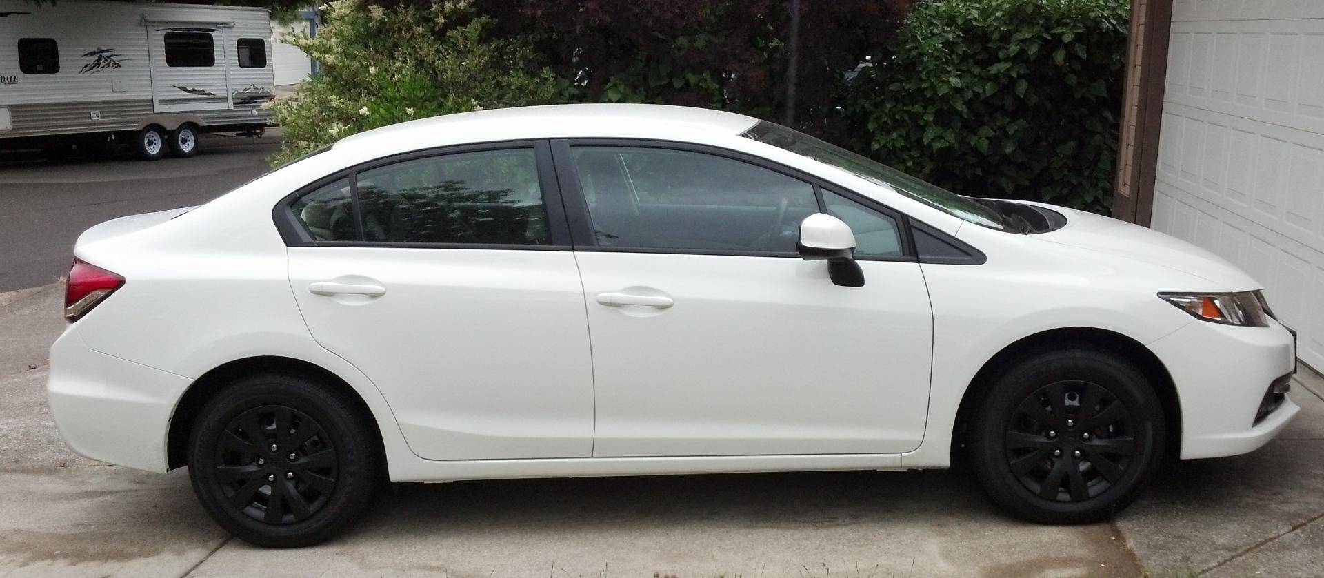 Project 2012 plasti dip d hubcaps on white 2013 lx sedan 2civic2012blackedouthubs
