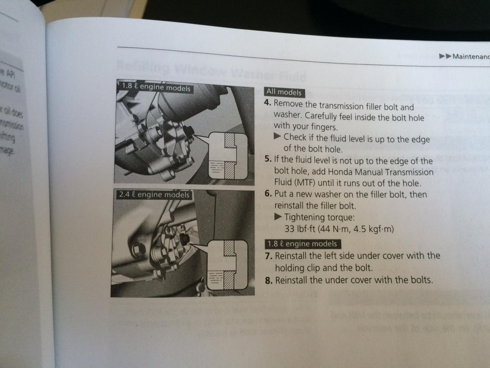 2012 honda civic si manual transmission fluid