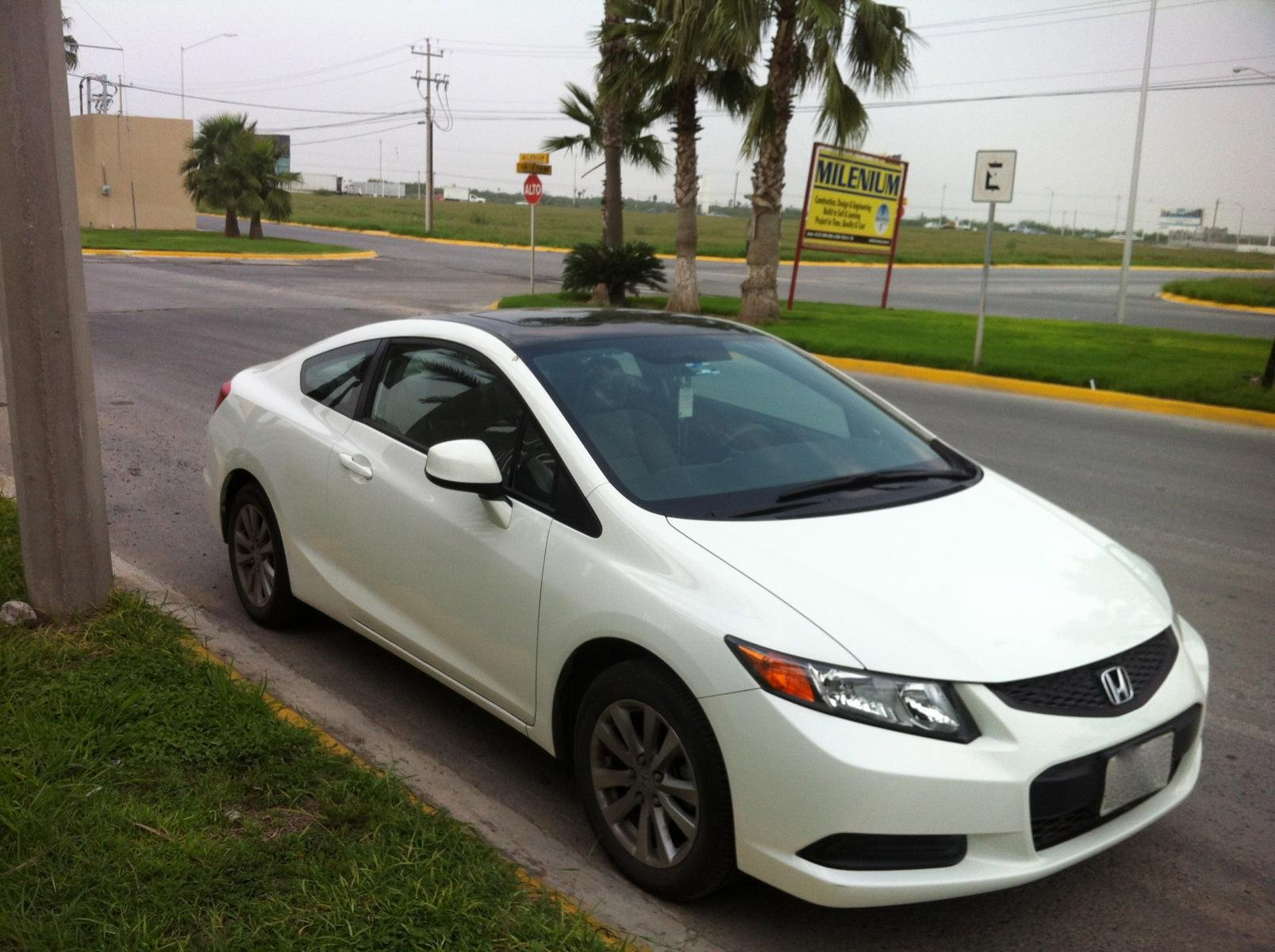 3m Gloss Black Roof Wrap Vinyl On Civic Ex Coupe White